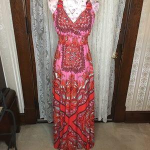ECI New York Pink Paisley Maxi Dress size 8